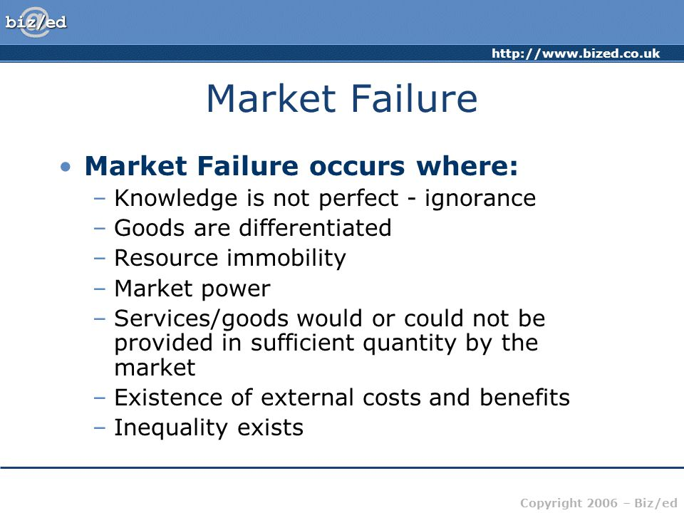 Market Failure Market Failure occurs where: