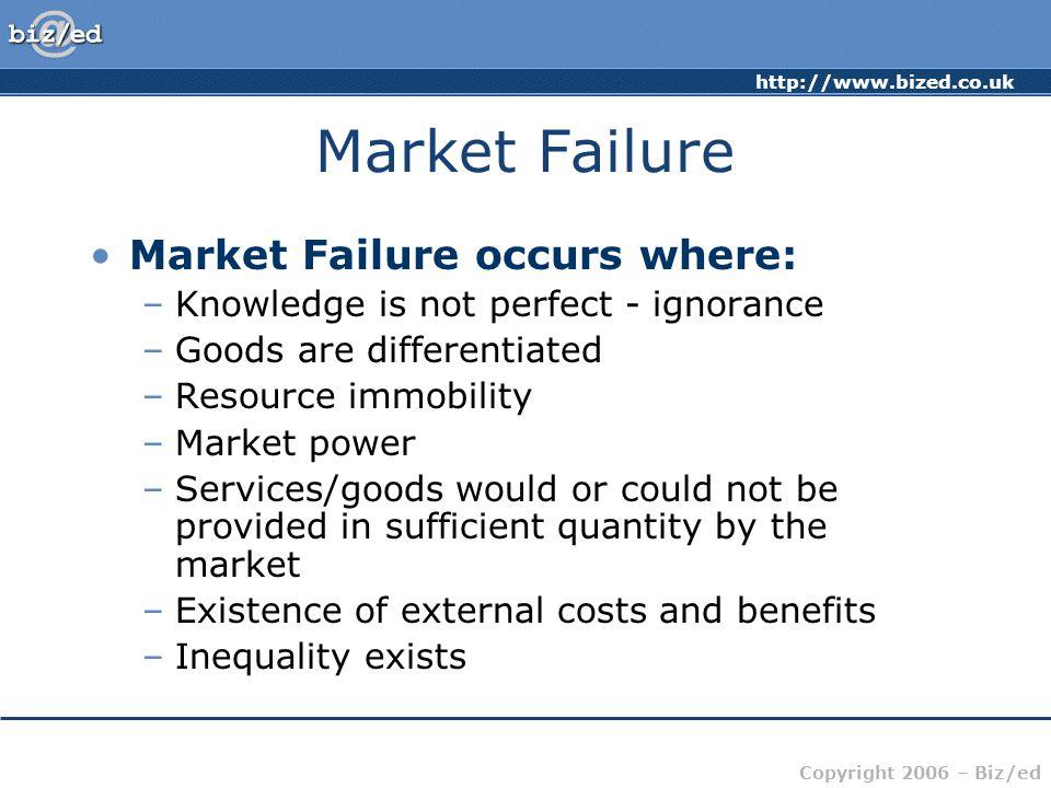 Market Failure Market Failure occurs where: