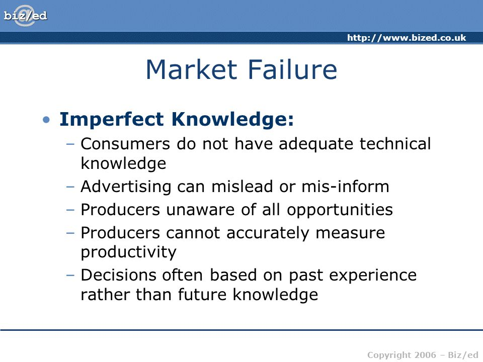 Market Failure Imperfect Knowledge: