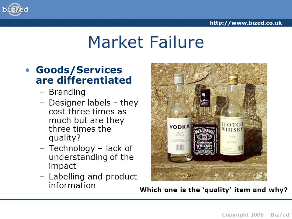 Market Failure Goods/Services are differentiated Branding