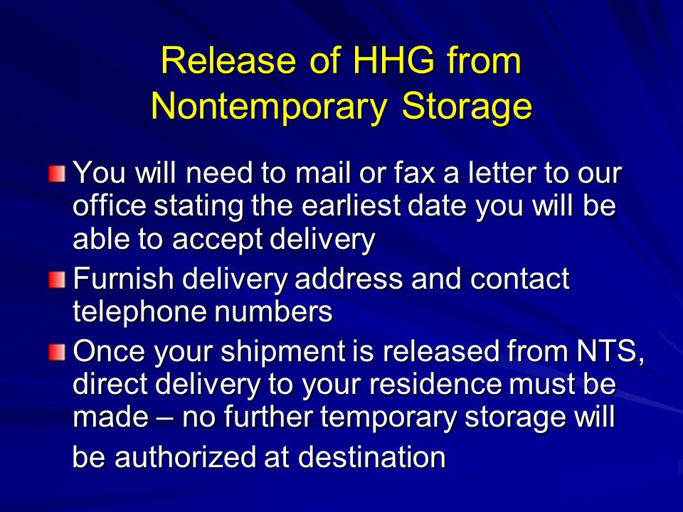 Release of HHG from Nontemporary Storage