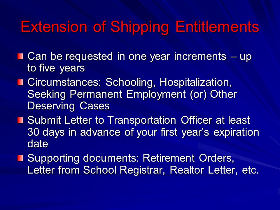 Extension of Shipping Entitlements