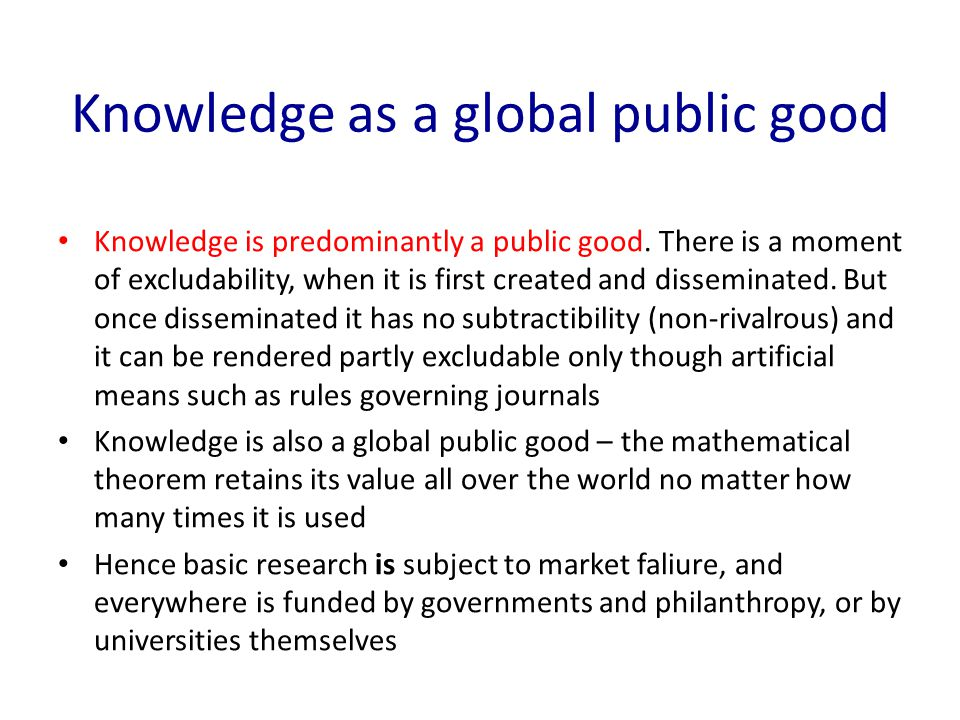 Knowledge as a global public good