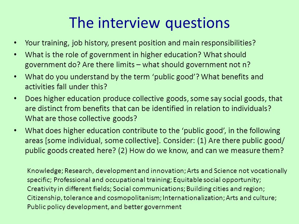 The interview questions