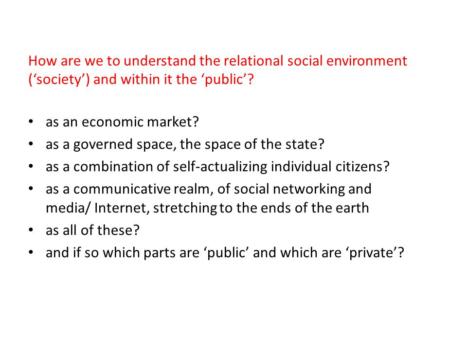 How are we to understand the relational social environment ('society') and within it the 'public'
