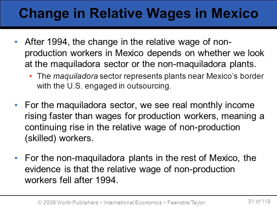 Change in Relative Wages in Mexico