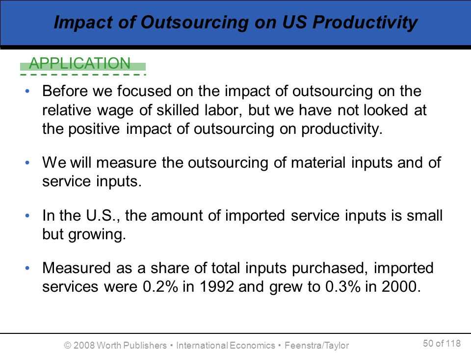 Impact of Outsourcing on US Productivity