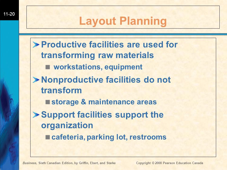 Layout Planning Productive facilities are used for transforming raw materials. workstations, equipment.