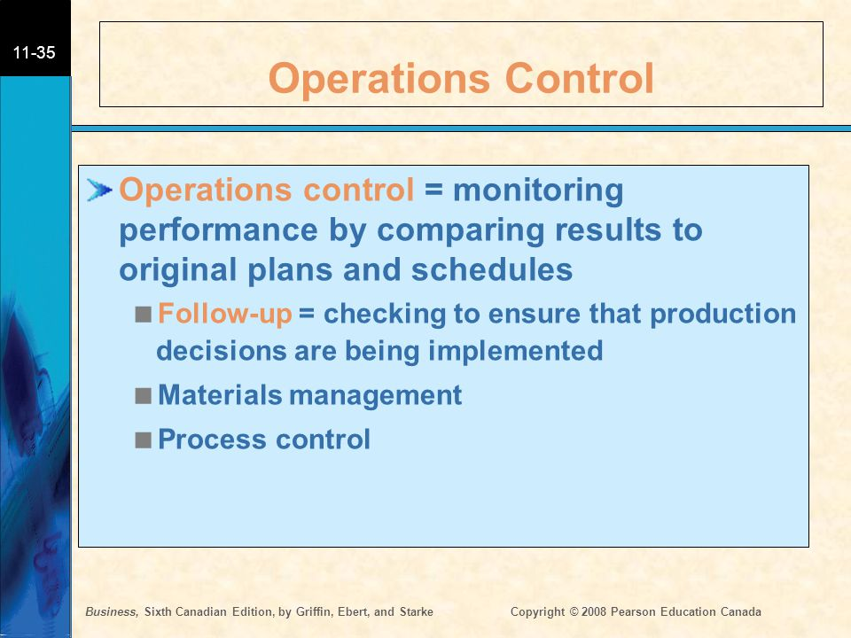 Operations Control Operations control = monitoring performance by comparing results to original plans and schedules.