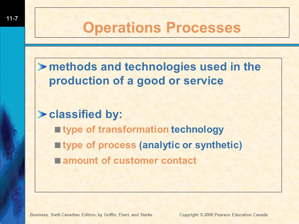Operations Processes methods and technologies used in the production of a good or service. classified by: