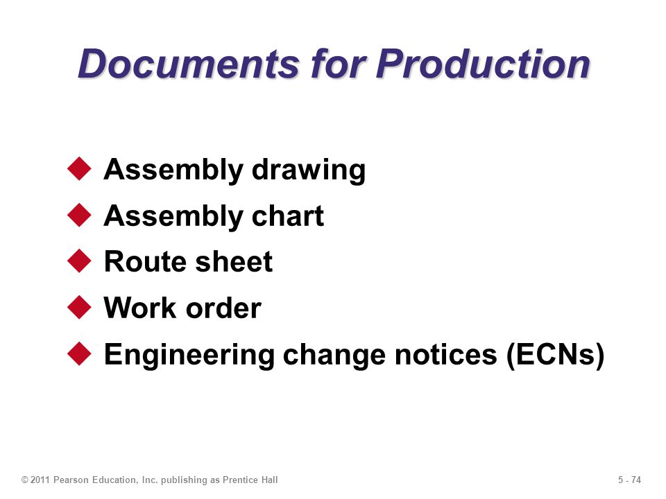 Documents for Production