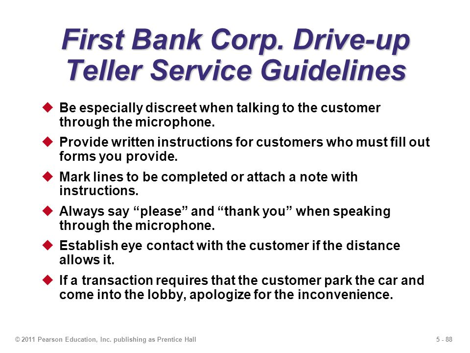 First Bank Corp. Drive-up Teller Service Guidelines