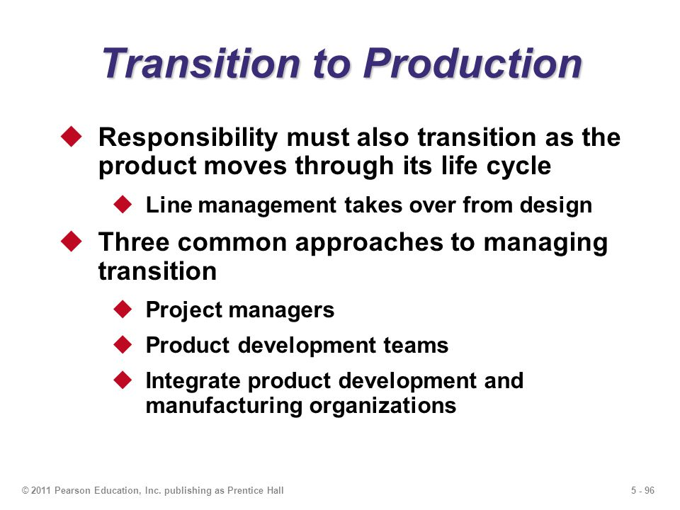 Transition to Production
