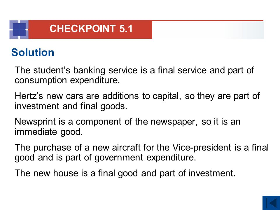 CHECKPOINT 5.1 Solution. The student's banking service is a final service and part of consumption expenditure.