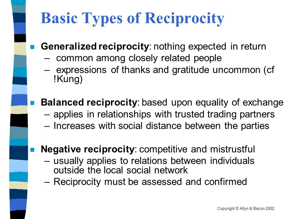Basic Types of Reciprocity