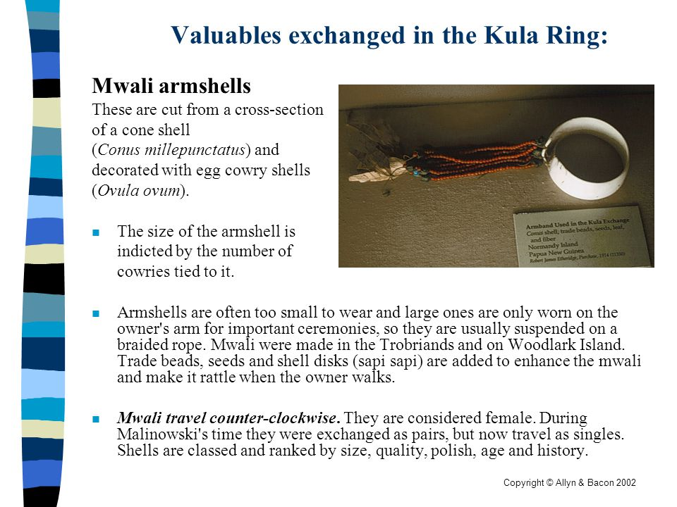 Valuables exchanged in the Kula Ring: