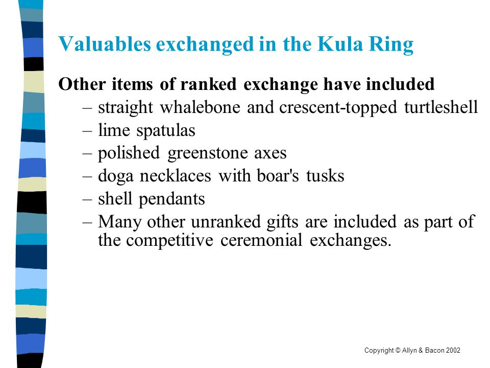 Valuables exchanged in the Kula Ring