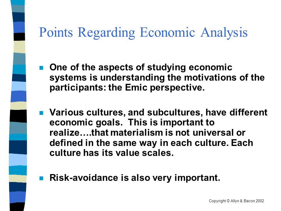 Points Regarding Economic Analysis
