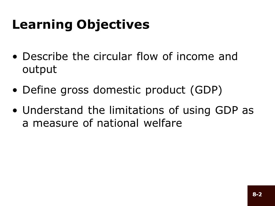 Learning Objectives Describe the circular flow of income and output