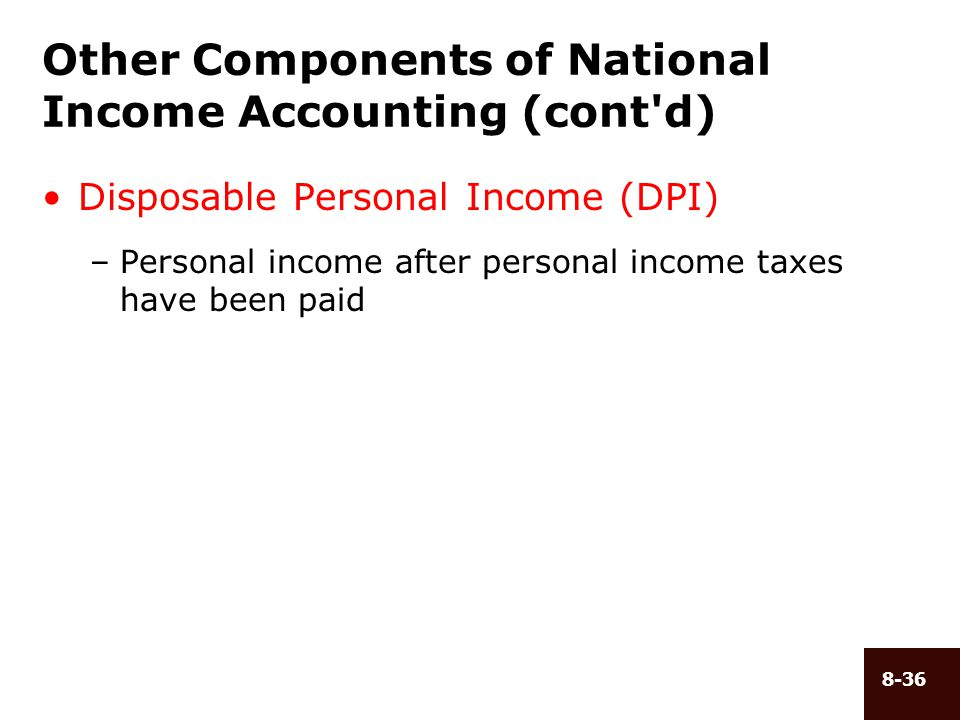 Other Components of National Income Accounting (cont d)