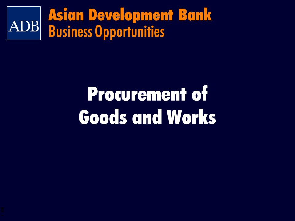Asian Development Bank Business Opportunities