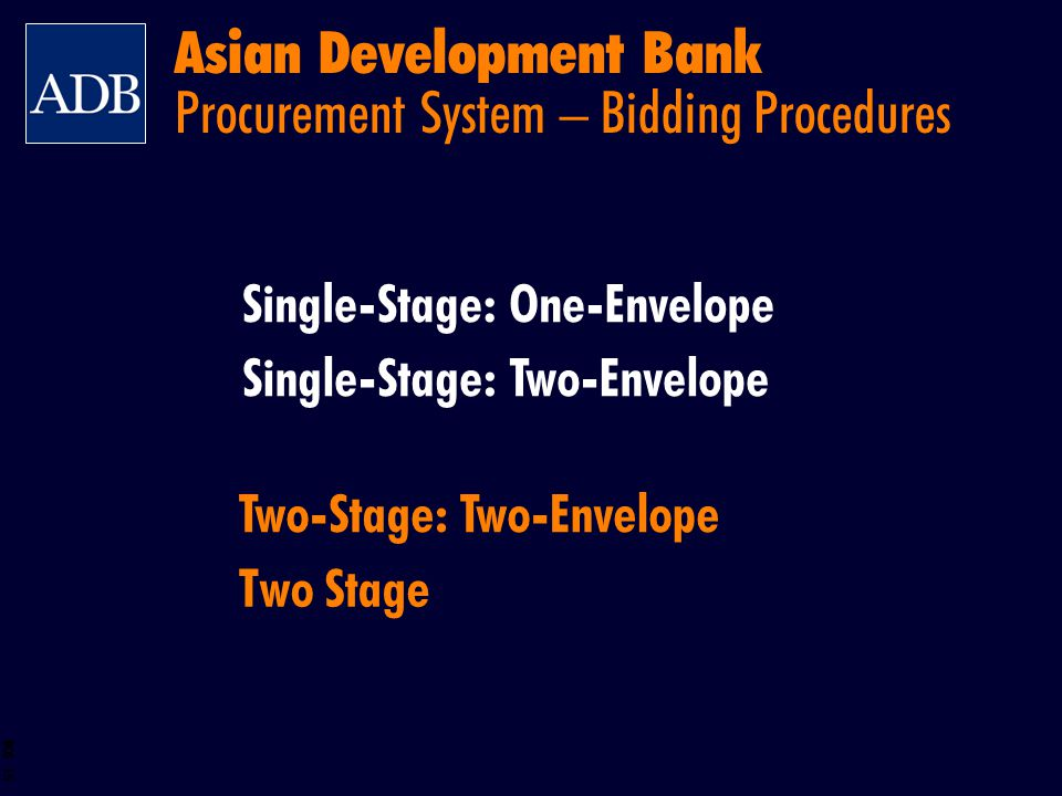 Asian Development Bank Procurement System – Bidding Procedures