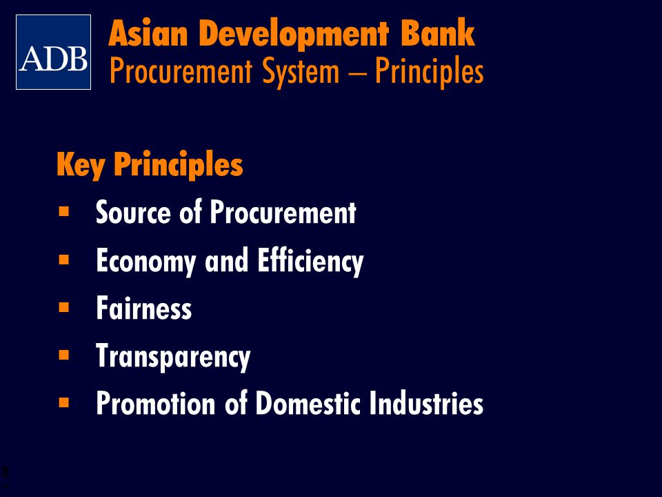 Asian Development Bank Procurement System – Principles