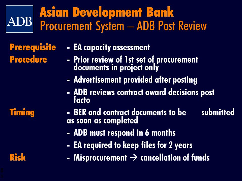Asian Development Bank Procurement System – ADB Post Review