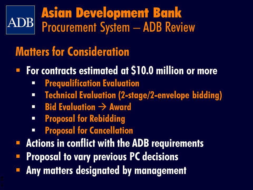 Asian Development Bank Procurement System – ADB Review