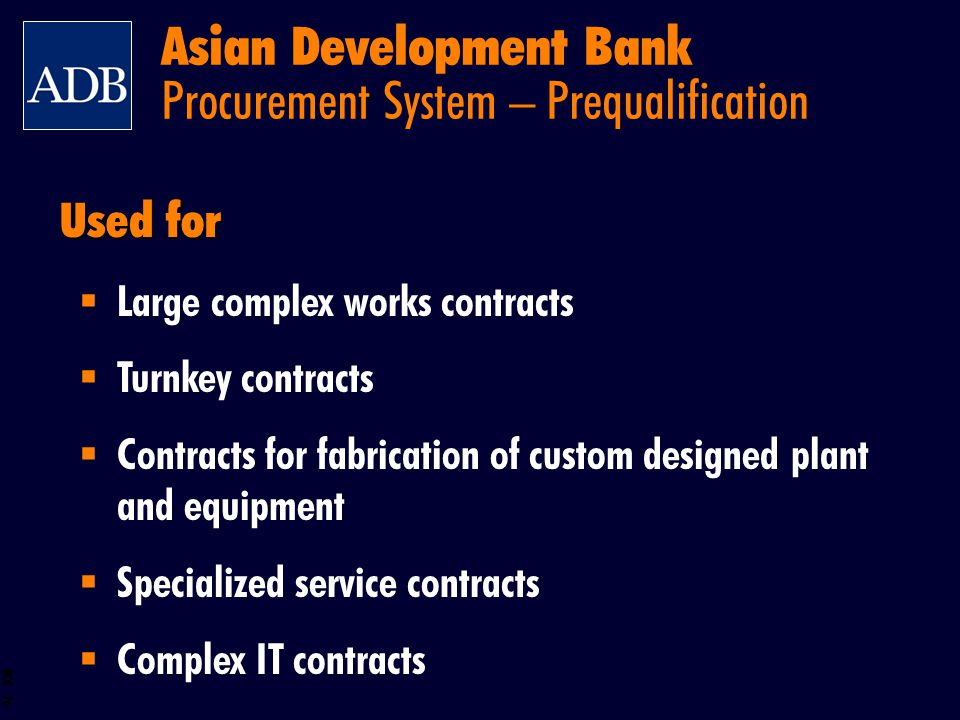 Asian Development Bank Procurement System – Prequalification