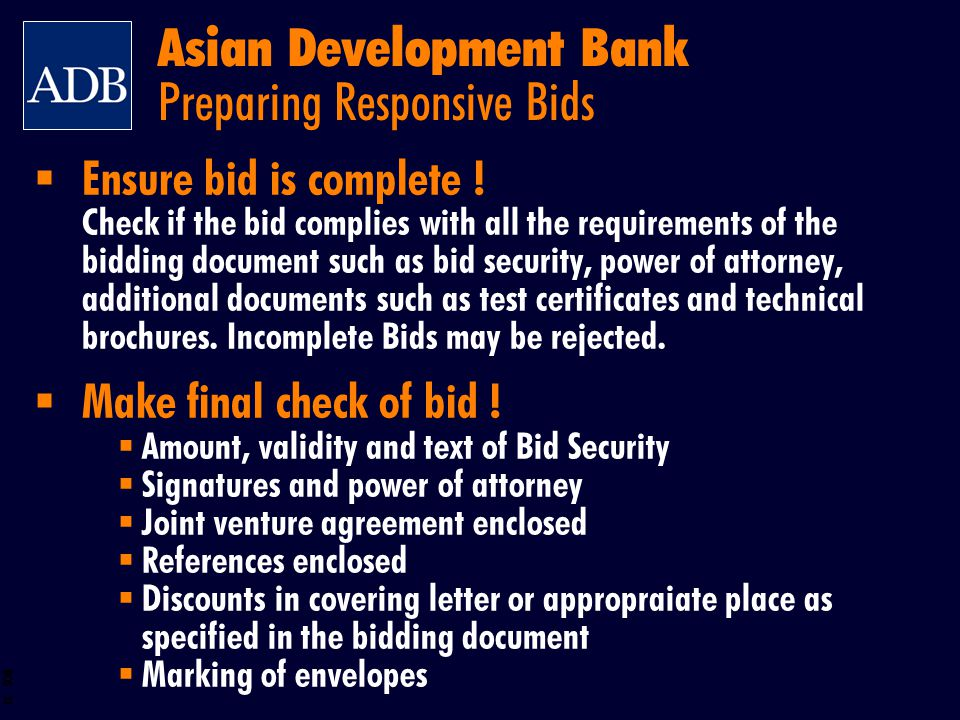 Asian Development Bank Preparing Responsive Bids
