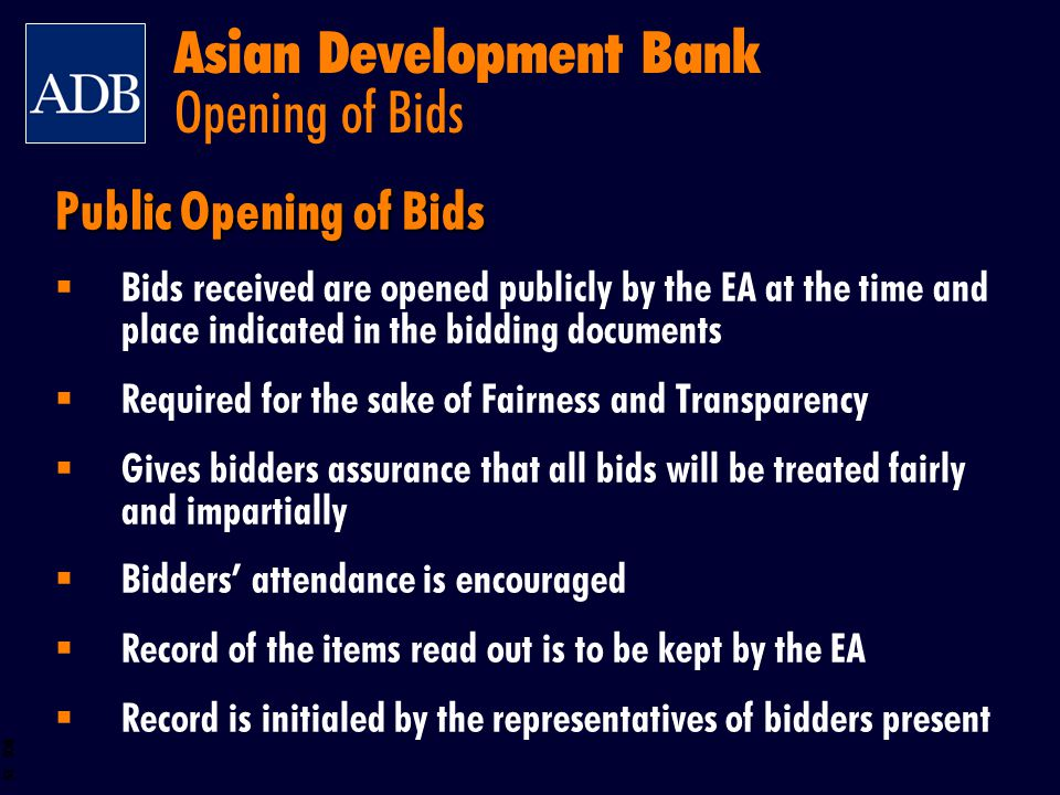 Asian Development Bank Opening of Bids