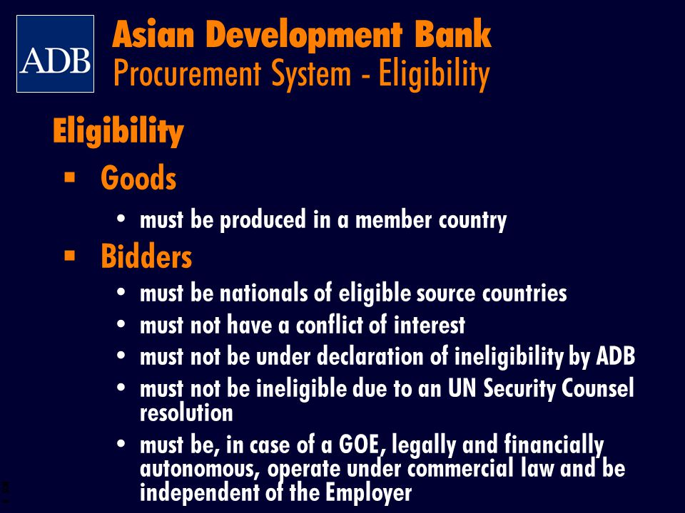 Asian Development Bank Procurement System - Eligibility