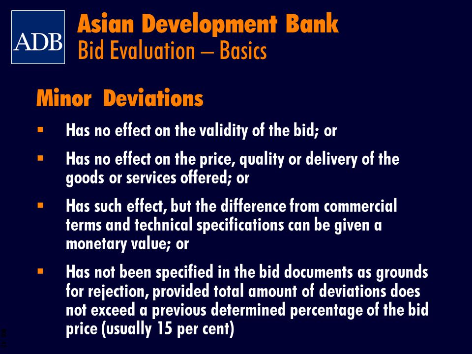 Asian Development Bank Bid Evaluation – Basics