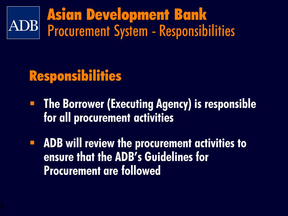 Asian Development Bank Procurement System - Responsibilities