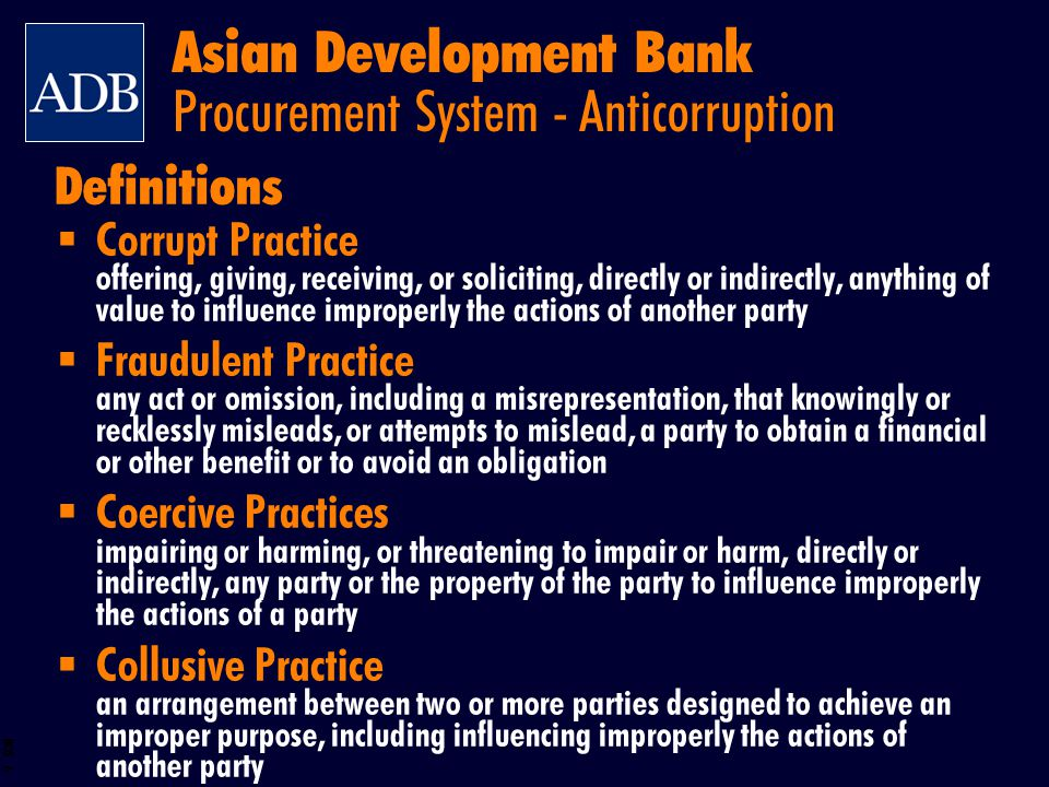 Asian Development Bank Procurement System - Anticorruption