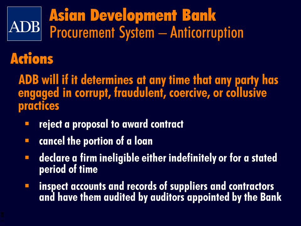 Asian Development Bank Procurement System – Anticorruption