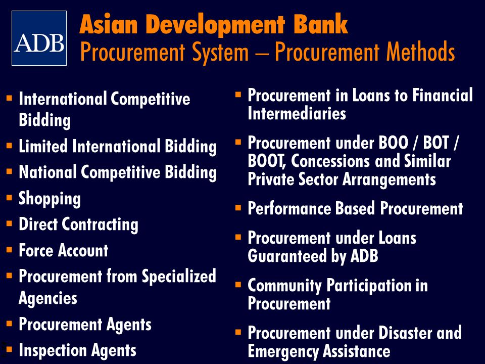 Asian Development Bank Procurement System – Procurement Methods