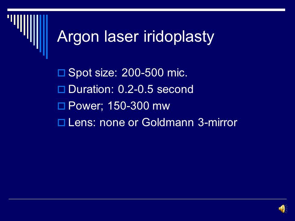 Argon laser iridoplasty