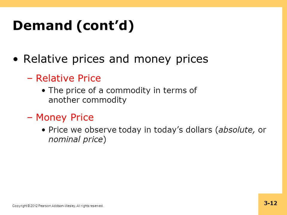 Demand (cont'd) Relative prices and money prices Relative Price