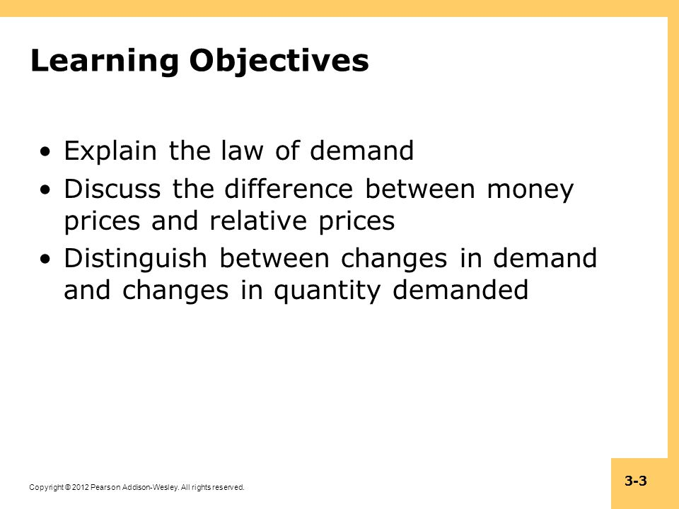 Learning Objectives Explain the law of demand