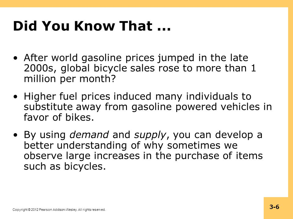 Did You Know That ... After world gasoline prices jumped in the late 2000s, global bicycle sales rose to more than 1 million per month