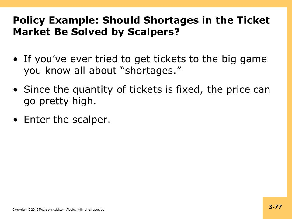 Policy Example: Should Shortages in the Ticket Market Be Solved by Scalpers