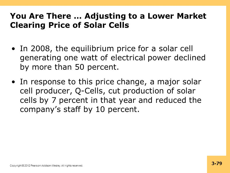 You Are There … Adjusting to a Lower Market Clearing Price of Solar Cells