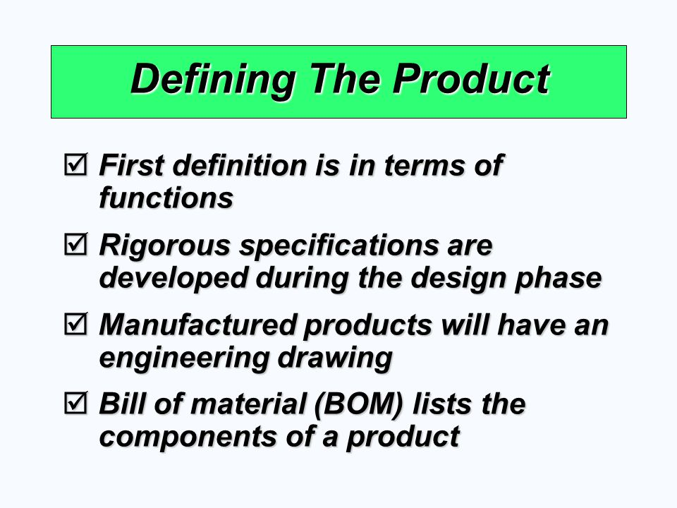 Defining The Product First definition is in terms of functions