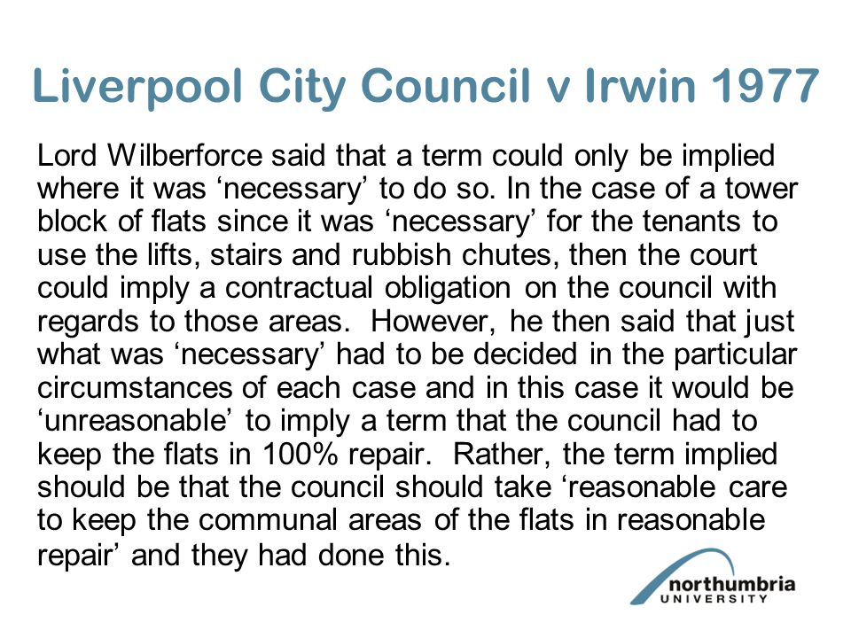 Liverpool City Council v Irwin 1977