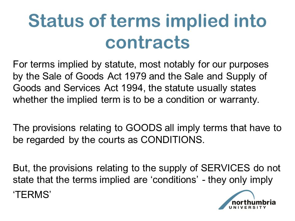 Status of terms implied into contracts