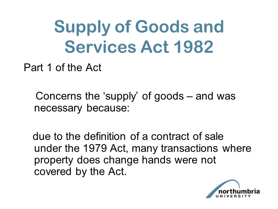 Supply of Goods and Services Act 1982