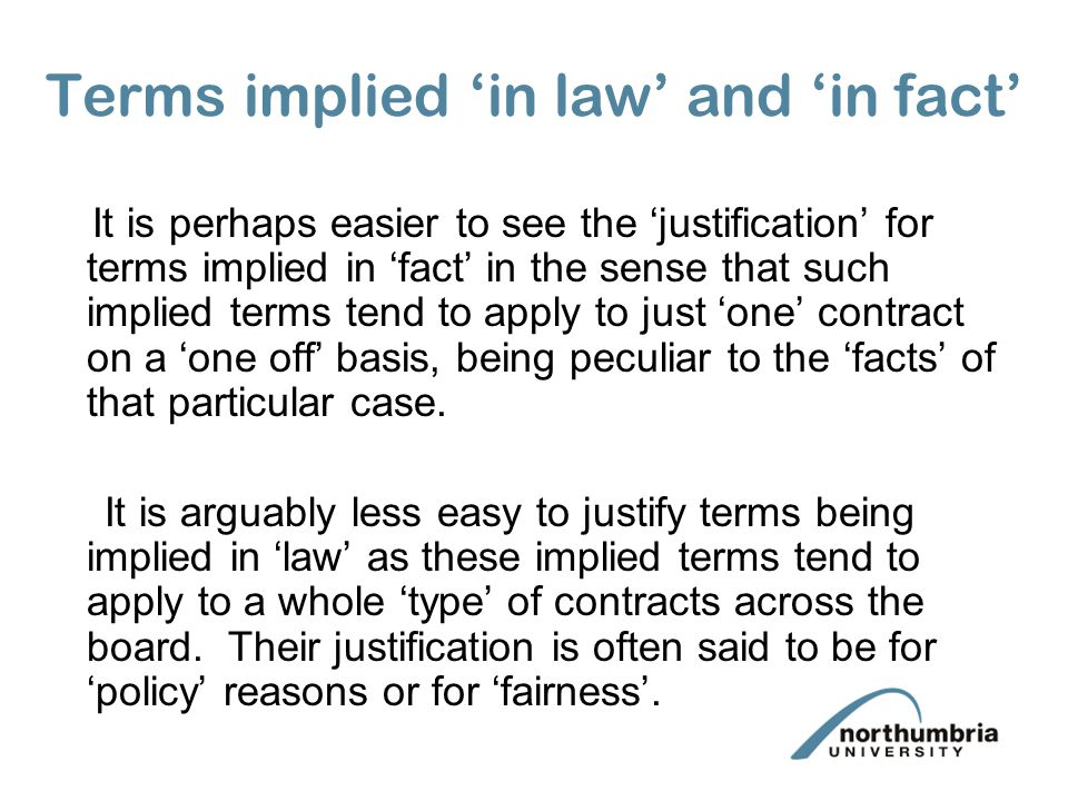 Terms implied 'in law' and 'in fact'