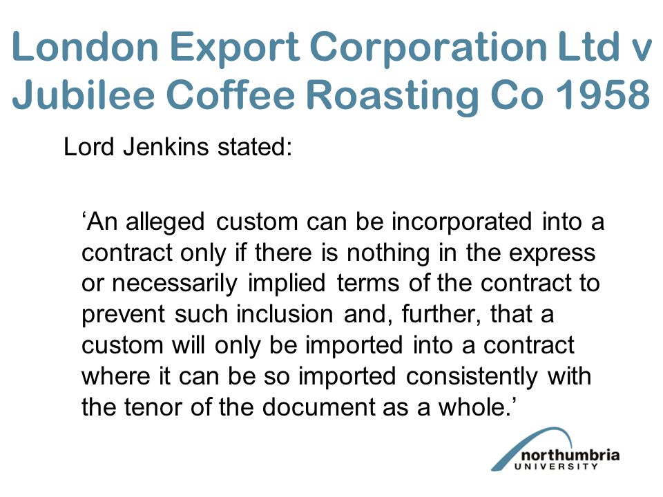 London Export Corporation Ltd v Jubilee Coffee Roasting Co 1958